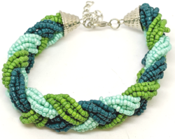 Blue and Green Seed Bead Bracelet