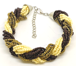 Brown, Gold and Cream Seed Bead Bracelet