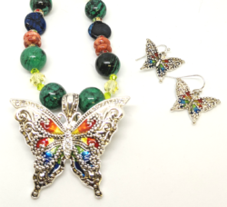 Multi Color Butterfly with Earrings