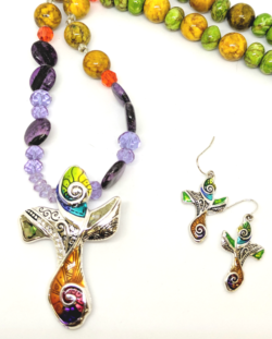 Multi Color Cross with Earrings
