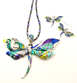Multi Color Dragonfly with Earrings