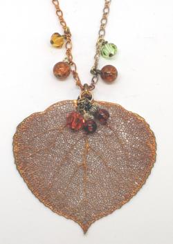 24KT Gold Aspen Leaf Pendant