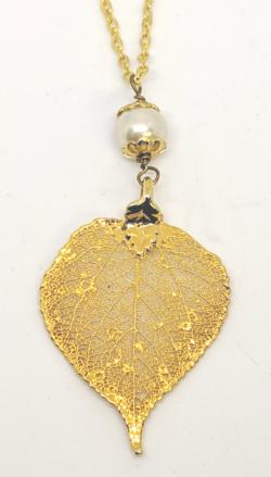 24 KT Gold Aspen Leaf Pendant