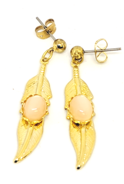 Peach Moonstone Gold Feather