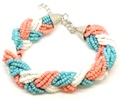 Peach, Turquoise, White Seed Bead Bracelet