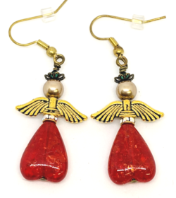 Red Heart Angel Earrings