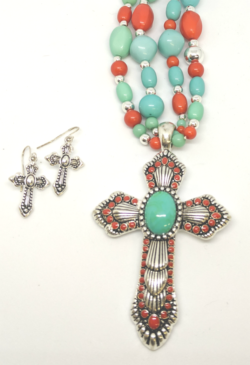 Slim Red and Turquoise with Earrings