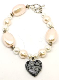 Pink Pearl with Snowflake Obsidian Heart