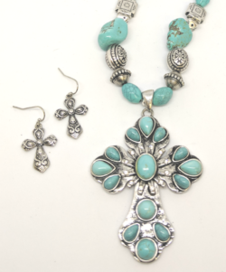Turquoise Flower with Earrings