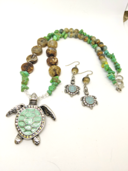Turquoise Turtle Pendant with Earrings