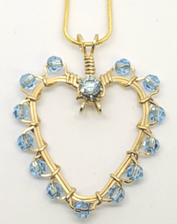 Blue Crystal Heart Wrapped Pendant