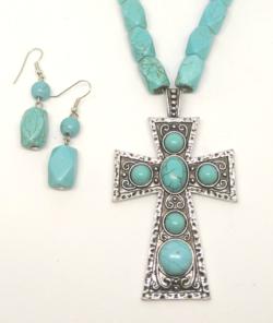 Western Cross with earrings