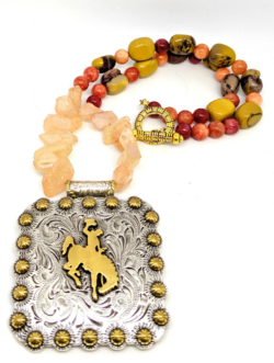 Quartz Crystal Bucking Horse Necklace
