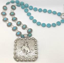 Wyoming Bucking Horse Necklace
